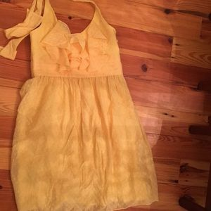 BCBG Paris Yellow dotted Swiss sundress